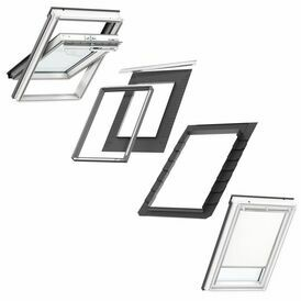 Velux Centre Pivot GGL S10W01 Roof Window and Duo Blackout Blind Bundle for Tile