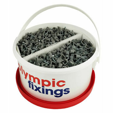 Olympic Fixings Flat Grey Cable Clips Tub (1.5 & 2.5 T&E)