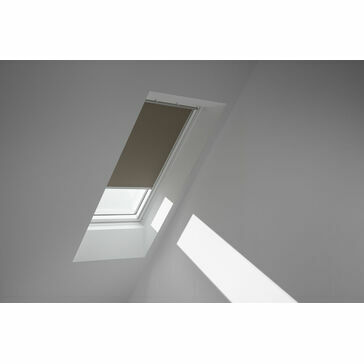 VELUX DML 4574SWL 'White Line' Electric Blackout Blind - Warm Grey