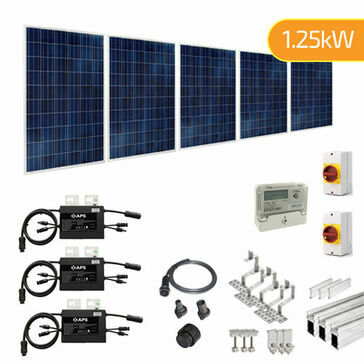 Plug-In Solar 1.25kW (1250W) New Build Developer Solar Power Kit for Part L Building Regulations