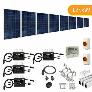 Plug-In Solar 3.25kW (3250W) New Build Developer Solar Power Kit for Part L Building Regulations