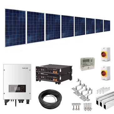 3kW (3000W) Hybrid Solar Power Kit with 2.4kWh Battery Storage for Tile/Slate Roofs