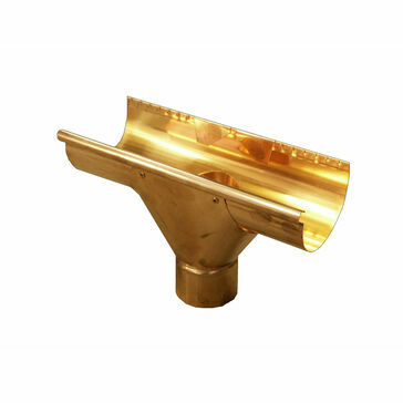 Copper Large Half Round Gutter - 80 ø Swiss Outlet - 185mm x 95mm