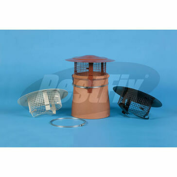 Chimney Cowl Standard Height Bonnet Top Rain Guard - Buff