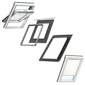 VELUX Centre Pivot GGL S10L01 Roof Window and Blackout Blind Bundle for Slate