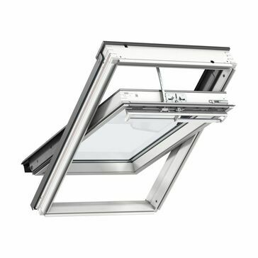 VELUX White Painted 15 Degree Centre Pivot Integra Electric Roof Window GGL CK04 207021U - 55cm x 98cm