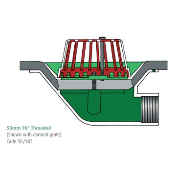Caroflow 50mm 90 Degree Threaded Flat Roof Outlets (Flat Grate)