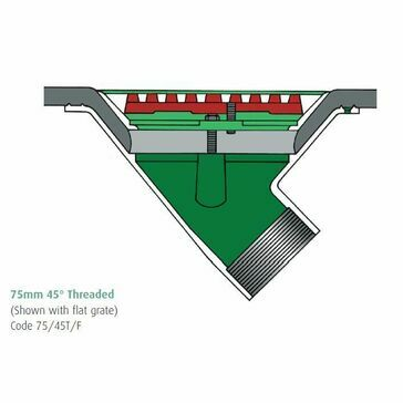 Caroflow 75mm 45 Degree Threaded Flat Roof Drainage Outlet (Flat Grate)