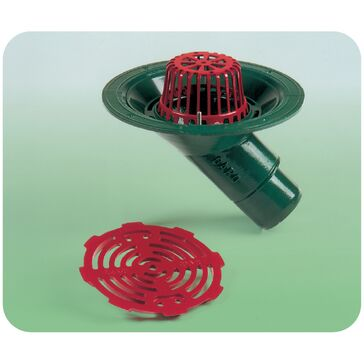 Caroflow 100mm 45 Degree Spigot Flat Roof Drainage Outlet (Dome Grate)