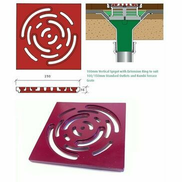 Caroflow Kombi Terrace Grate Flat Roof Drainage Outlet