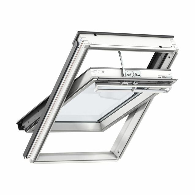 Velux White Painted 15 Degree Centre Pivot Integra Electric Roof Window - GGL 207021U